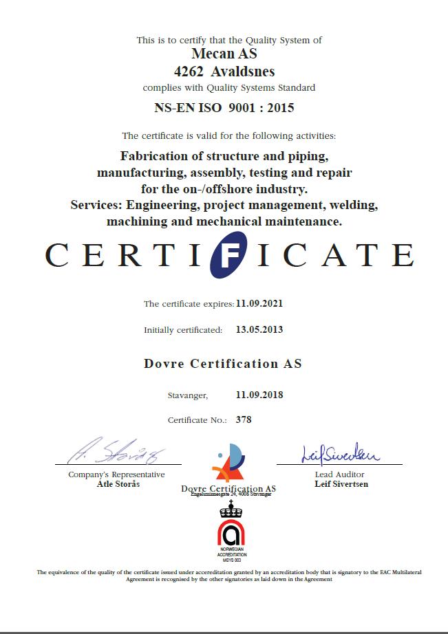 Mecan ISO Sertifikat